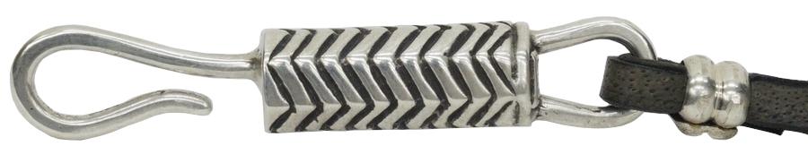 LHN Jewelry(エルエイチエヌ ジュエリー) Made In USA ハンドメイド Hiapo Hook Bracelet �レザー x シルバー 本革 ブレスレット ユニセックス