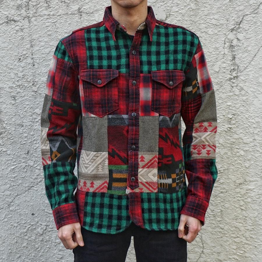 (ダブルアールエル) RRL パッチワーク プラッド ワークシャツ メンズ Patchwork Plaid Workshirt
