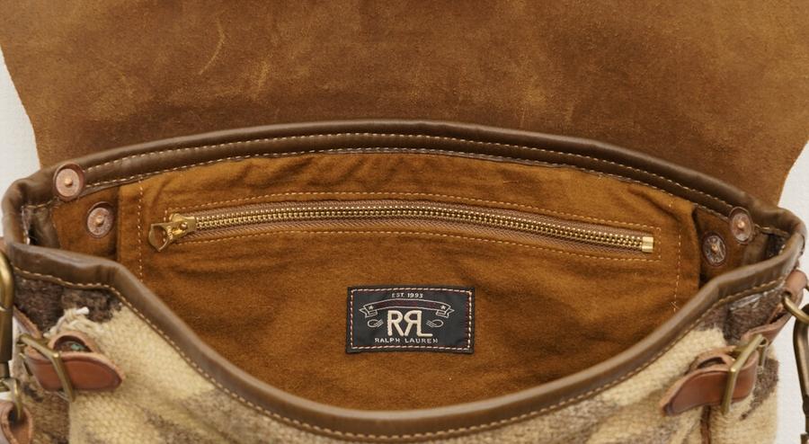 (ダブルアールエル) RRL レザー パネルド タペストリー バッグ ネイティブ Leather-Panel Tapestry Bag