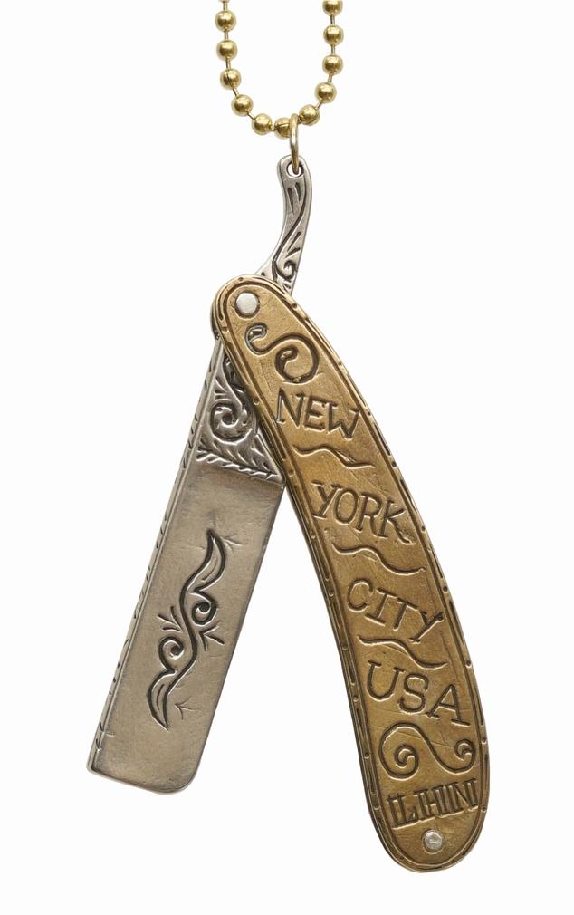 LHN Jewelry(エルエイチエヌ ジュエリー) 米国製 ハンドメイド 真鍮 x ニッケル ネックレス Straight Razor Necklace