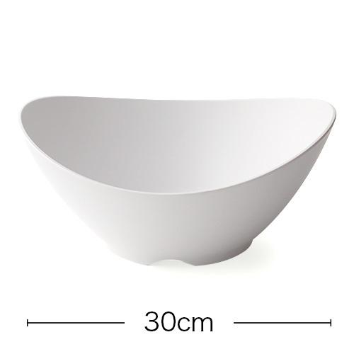 【割れにくいメラミン皿】アーチボール 白マット 30cm ×1枚