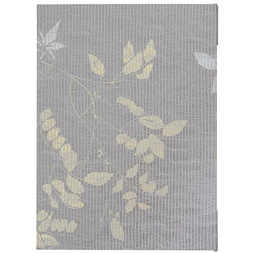 和風透かし花柄メニューブックA4グレー  ×5冊