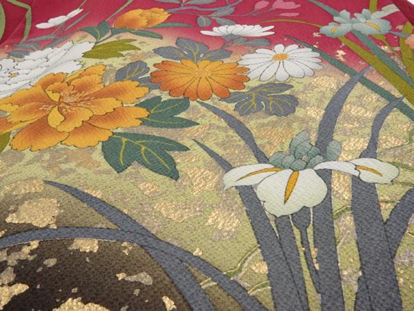 振袖 中古品お仕立て上がり正絹 御所車 蛇籠 四季の花模様 No3471208