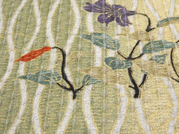 小紋 正絹紋意匠 扇・雪輪に四季の花模様 新古品 お仕立て上がり  No 3551351