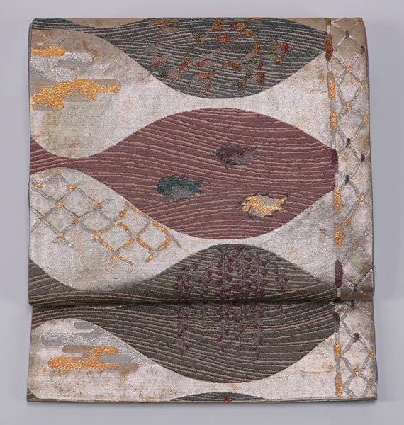さかな模様 西陣織 袋帯  中古品  No 3465306