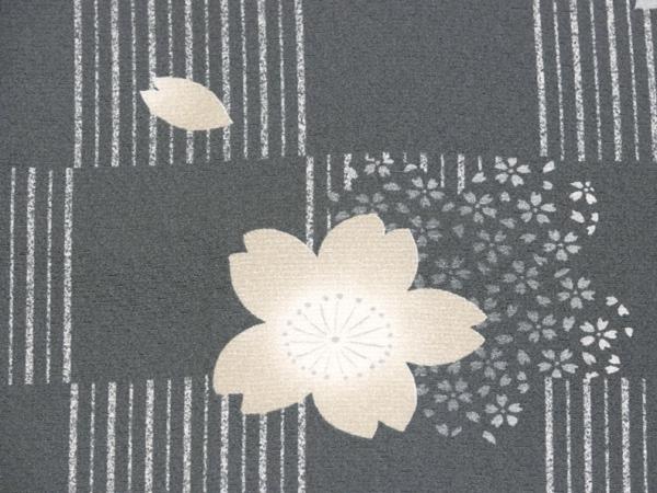 単衣 小紋 新古品 ちりめん使用 市松桜柄 未使用品 No3510570