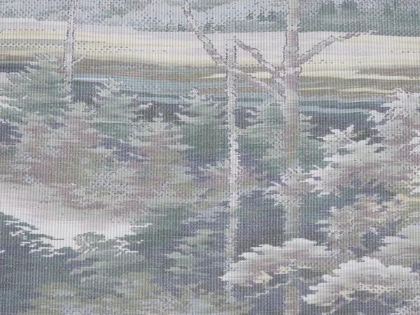 本場大島紬横双  名匠たかし製 湖畔風景柄 新古品 お仕立て上がり No 3500953