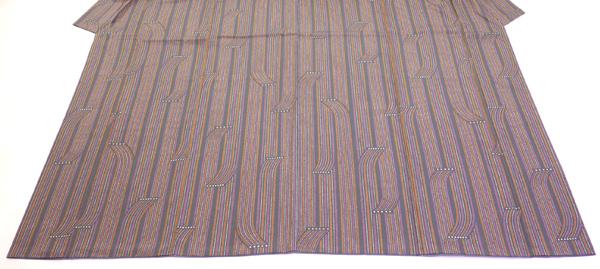 小紋 正絹 臈纈染め縦縞模様 中古品 お仕立て上がり  No 3504098