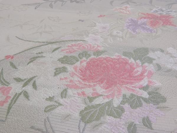 夏用 紗袋帯 正絹 白地 中古品 No 3491770