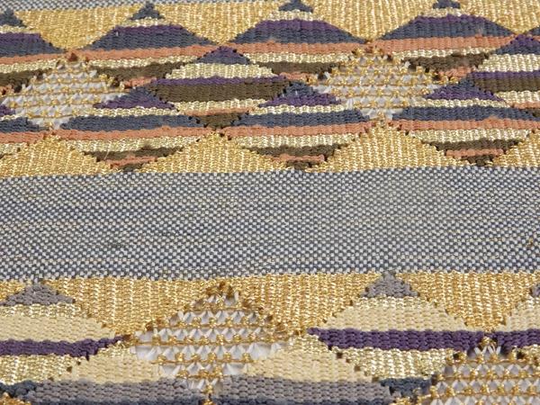 袋帯 横段鱗柄 綴れ織り 正絹 中古品  No 3543790