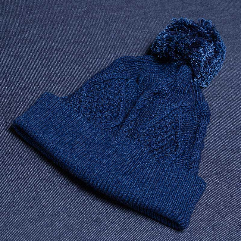《YAMACHAN BOU》 COTTON KNIT CAP (CABLE/INDIGO)