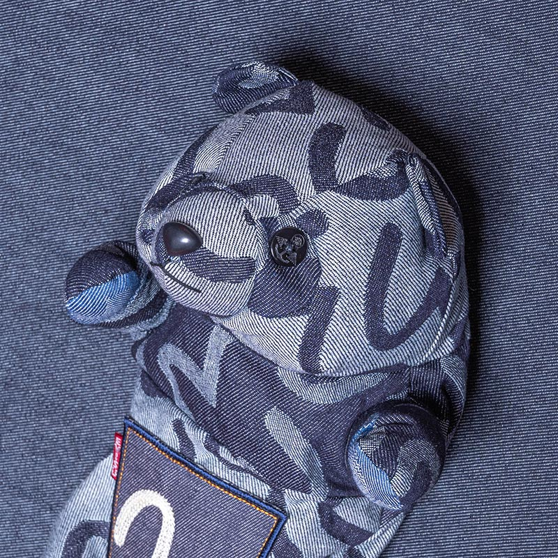 《熊本文次郎》 HEAD COVER BEAR (JACQUARD DENIM/GRAY)