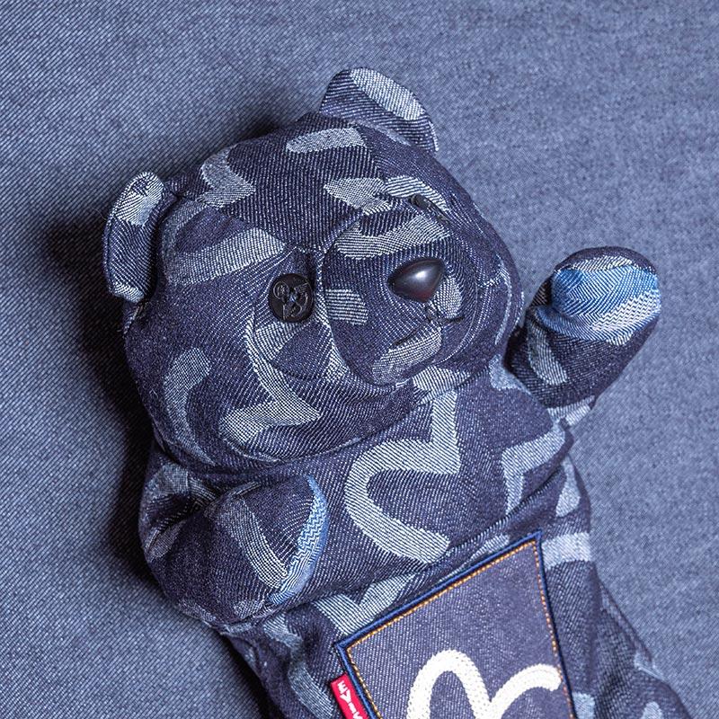 《熊本文次郎》 HEAD COVER BEAR (JACQUARD DENIM/INDIGO)