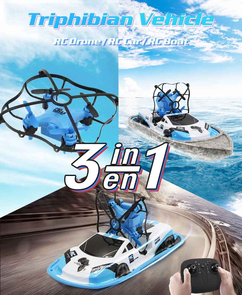 GW123 陸海空カーボートミニミニドローン 高度保留 ヘッドレスモード・バッテリー2個 (カメラ無し)