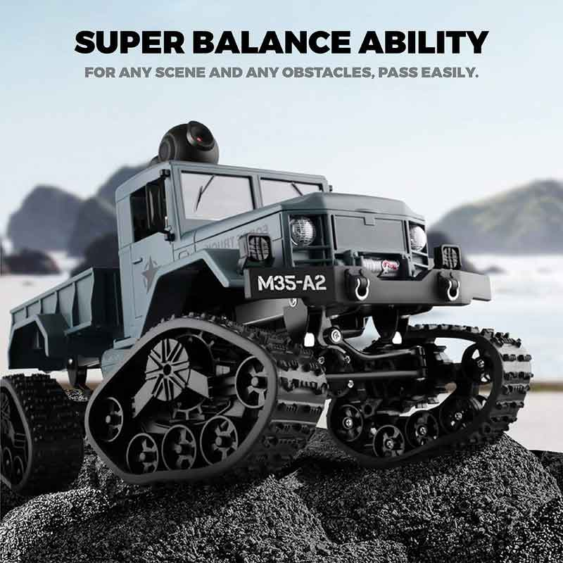 JH Toys 1/16 US M35-A2ミリタリートラック 4WD グレー(塗装済)WiFiカメラ・交換タイヤ付きJH TOYS Newest Toy 4WD M35-A2 Military Army RC Truck with Camera