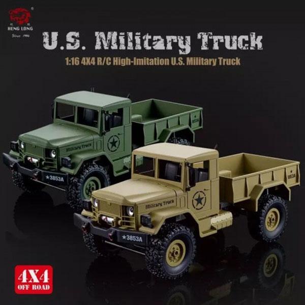 HengLong 1/16 USミリタリートラック 4WD オリーブドラブ/デザートイエロー(塗装済)