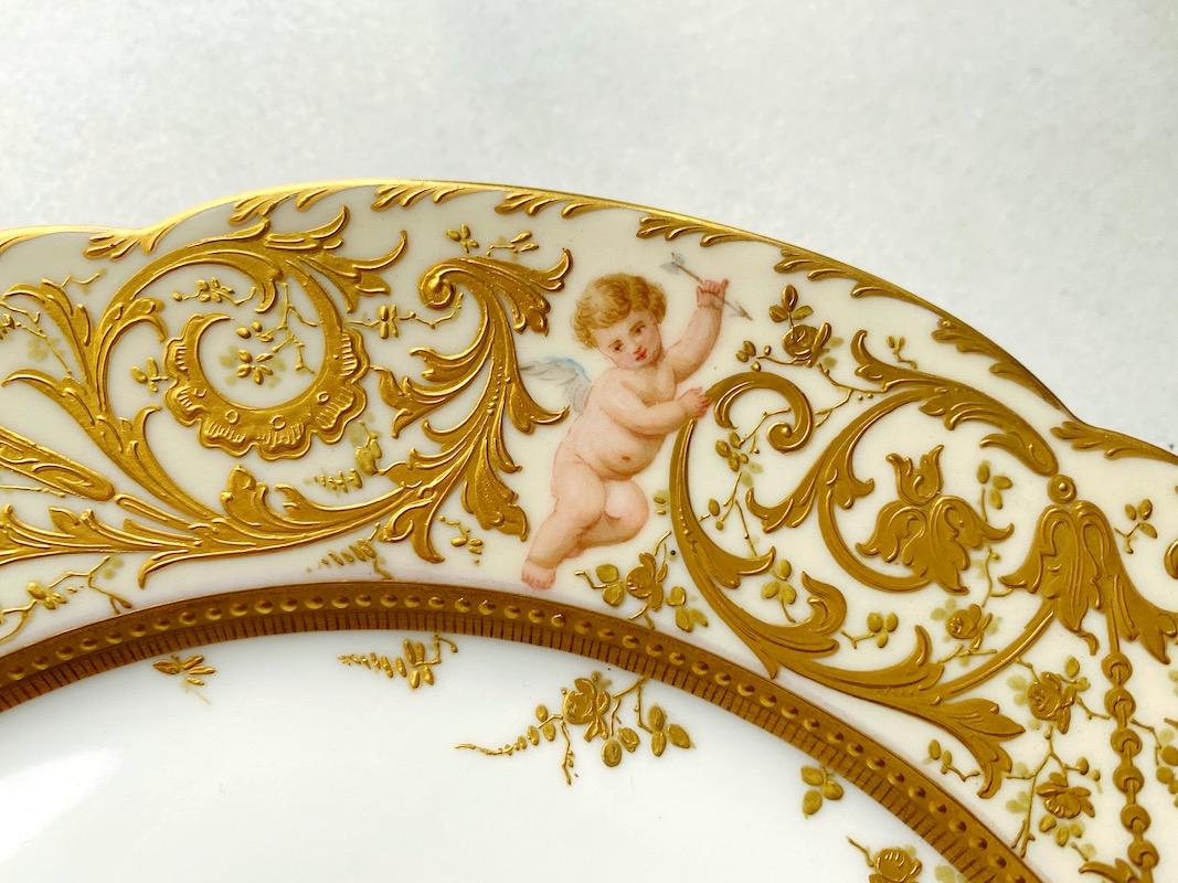 金装飾手描「天使の描かれたプレート」
