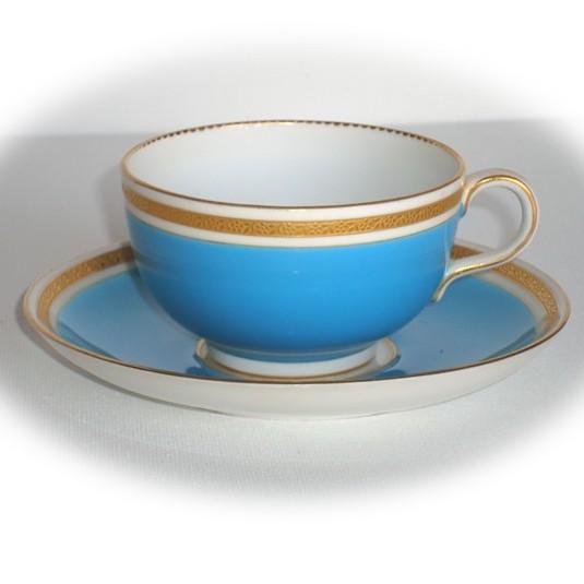 ロイヤルウースター ゴールドエッチング・ターコイズブルーカップ&ソーサー
