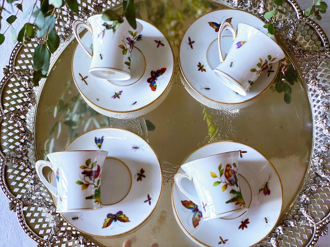 ドレスデン 小鳥と蝶の描かれたデミタスセット(4)
