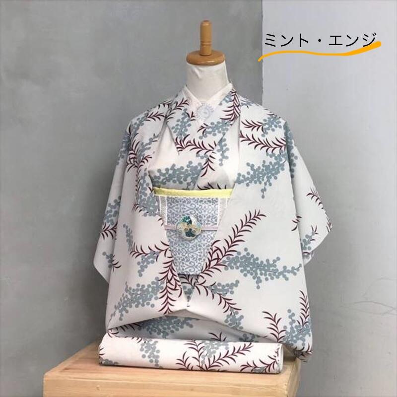 単衣/ゆかた アカシア ミント・エンジ