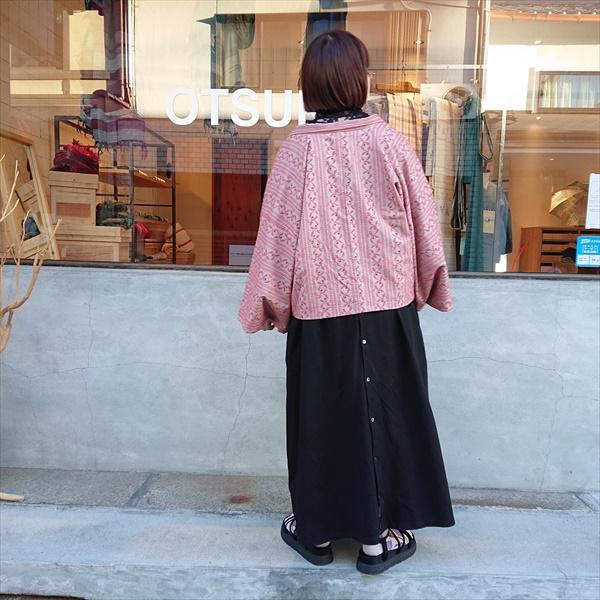ショート丈袷羽織 リーフ/ストライプ
