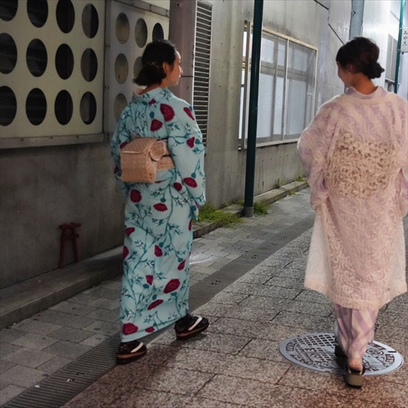 浴衣/単衣 アザミ 浅葱