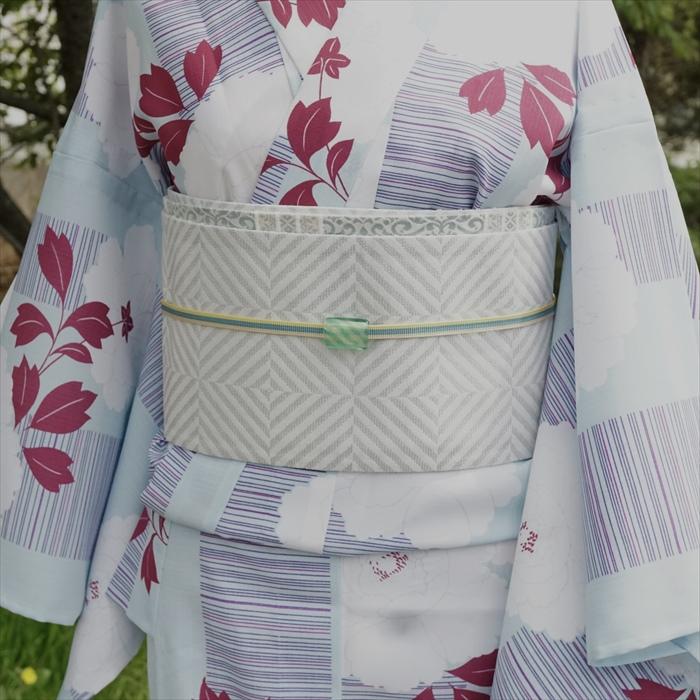 浴衣/単衣 牡丹 サックスブルー