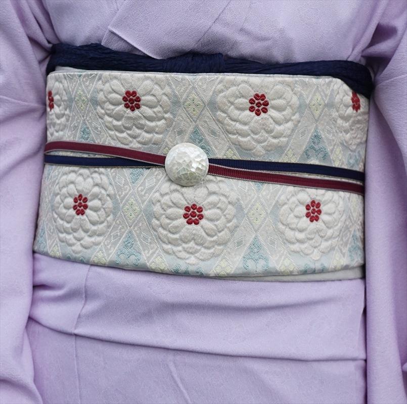 オリジナル袋帯 菊 ミントグリーン/パールホワイト
