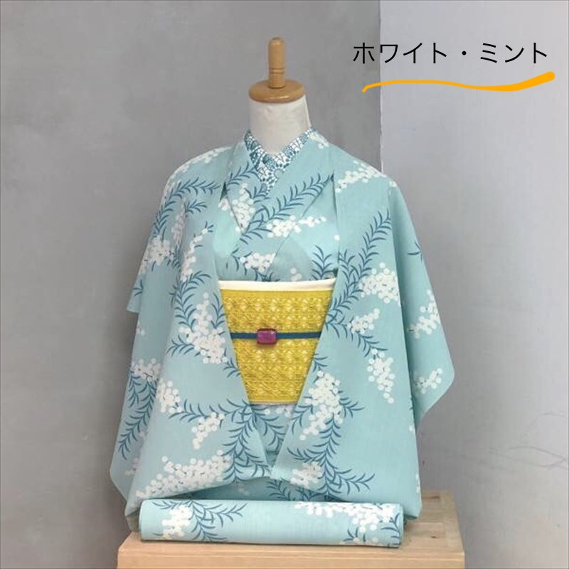 単衣/ゆかた アカシア ホワイトミント