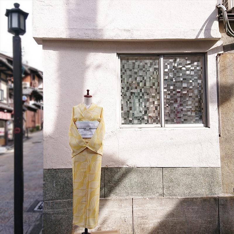 【4月中旬発送】 オリジナル浴衣 波 イエロー 2021ss collection