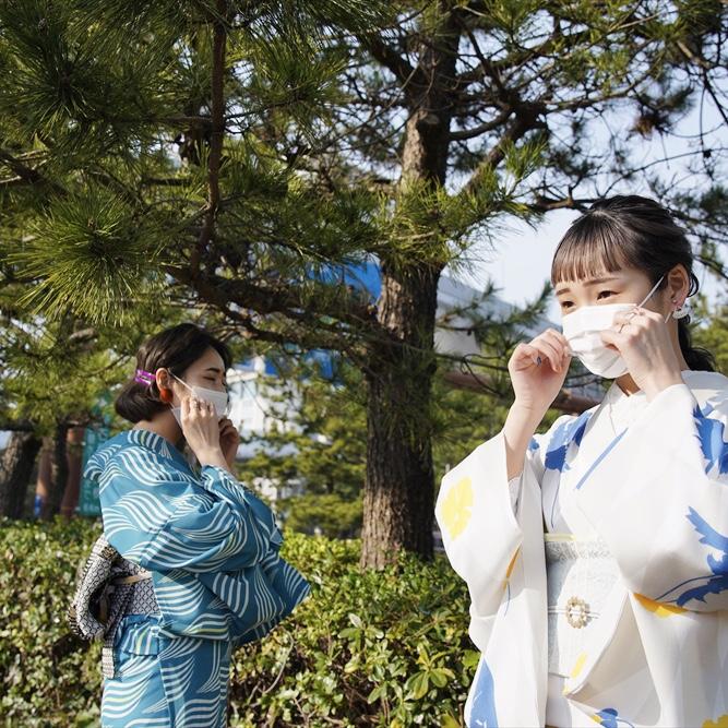 【4月中旬発送】 オリジナル浴衣 波 ブルー 2021ss collection