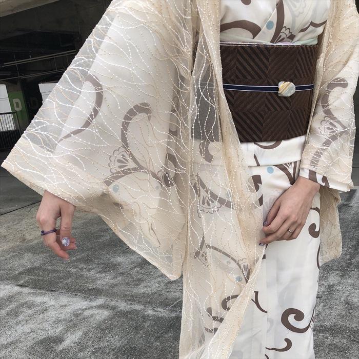 単衣/ゆかた 唐草 ベージュ