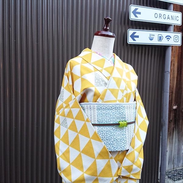 オリジナル袷着物 ウロコ/マスタード