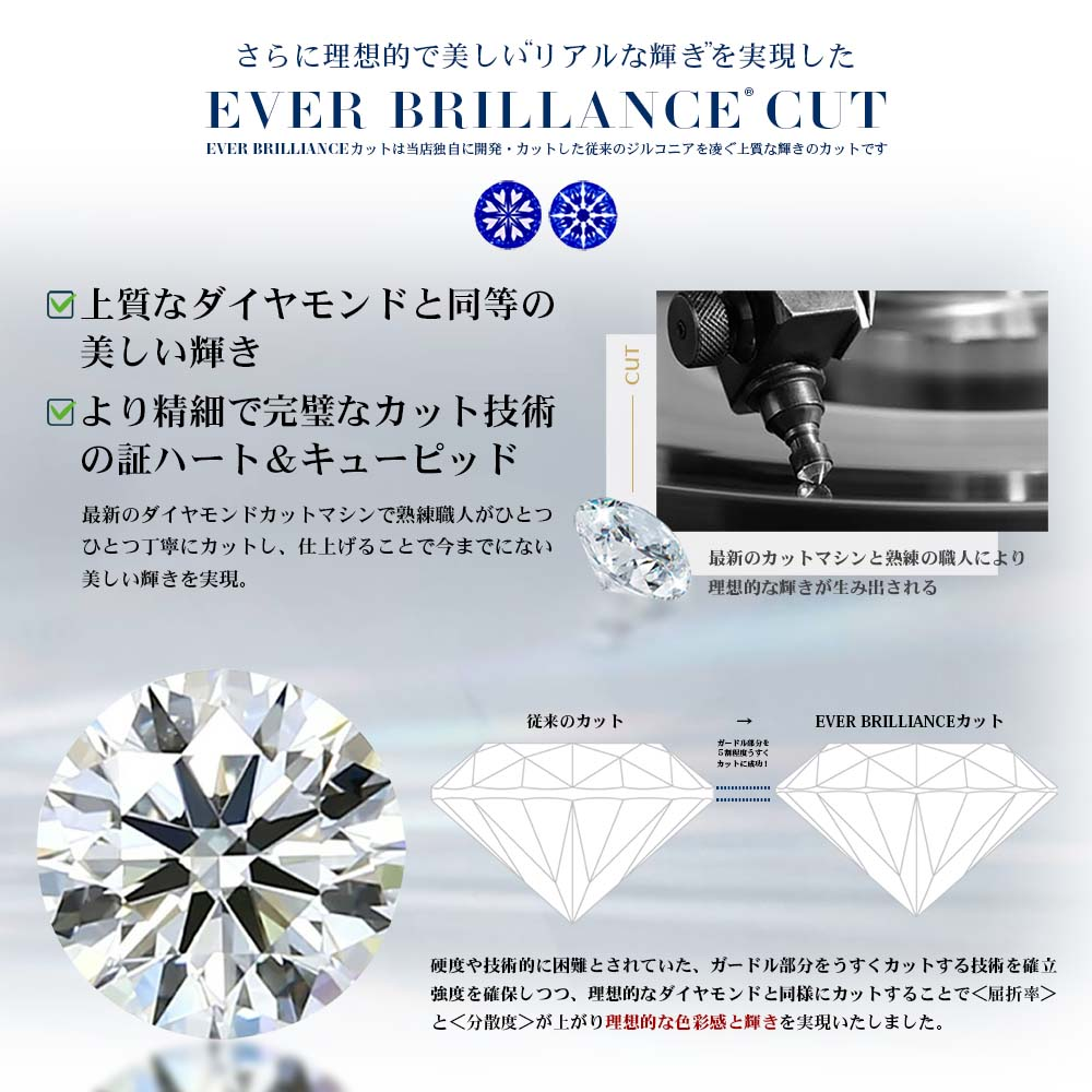 EVER BRILLIANCE ホースシュー(馬蹄)&1粒 3wayネックレス
