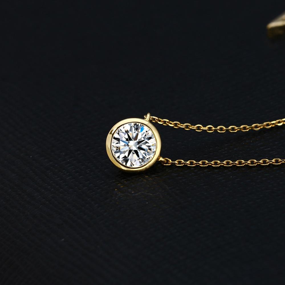 EVER BRILLIANCE K18WG YG 1カラット スワロフスキー ジルコニア ベゼル 両吊り ネックレス