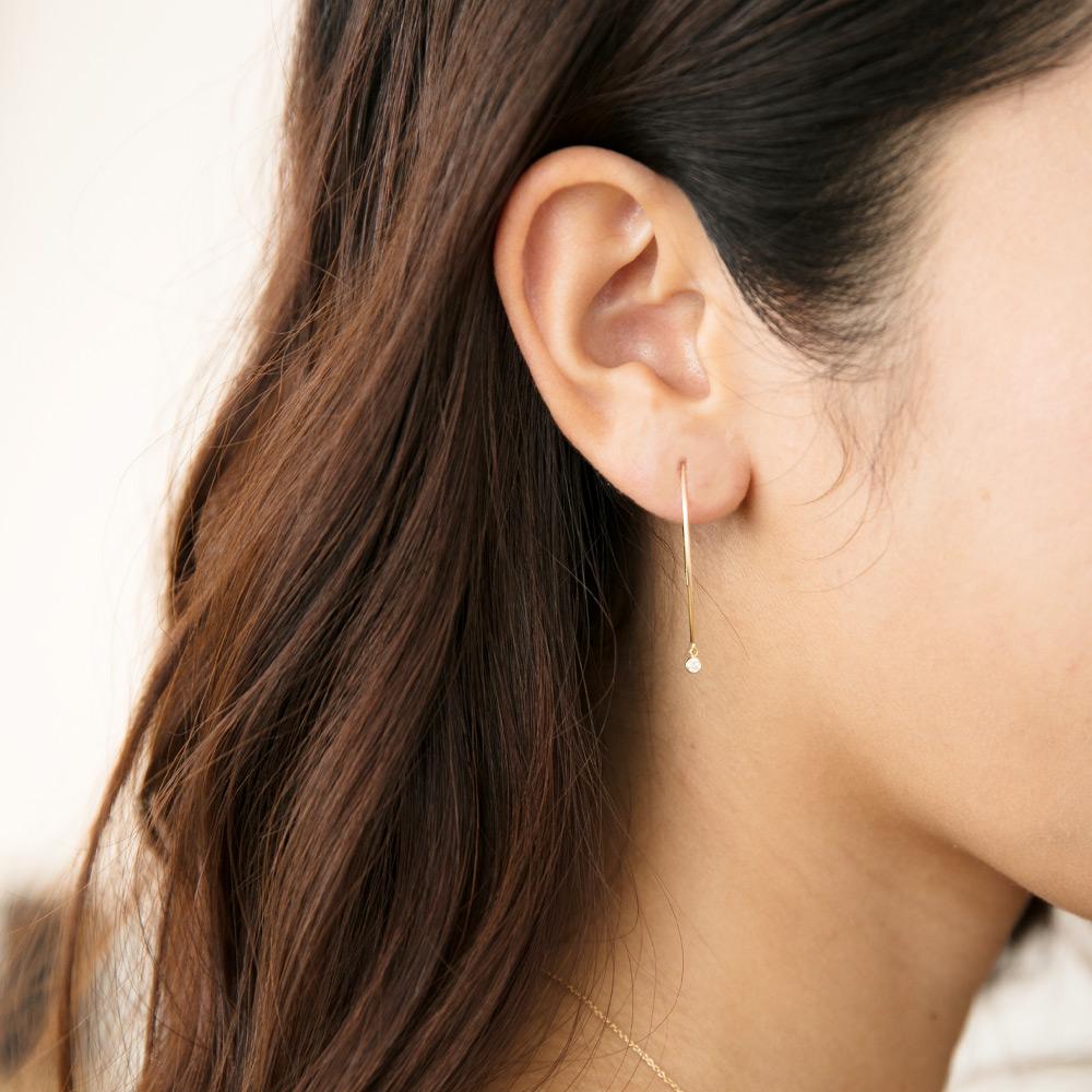 【ALLDE】K18YG ダイヤモンドピアス 0.1カラット ダイヤモンドフープピアス