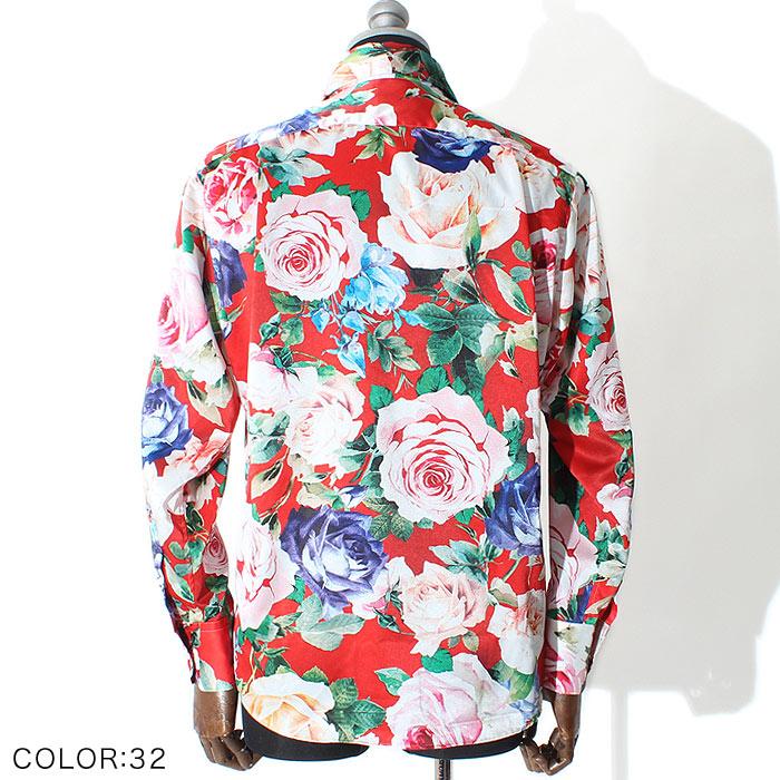 ローズパターンドレスシャツ