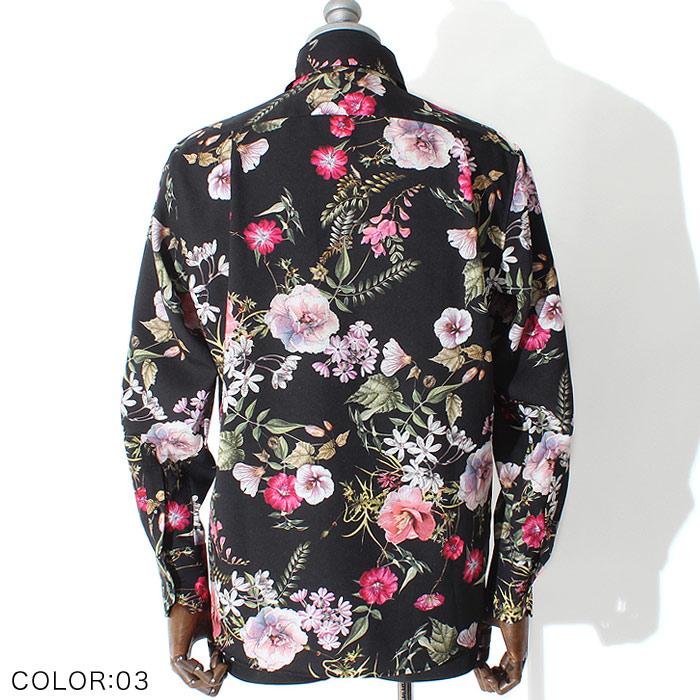 フラワーパターンドレスシャツ