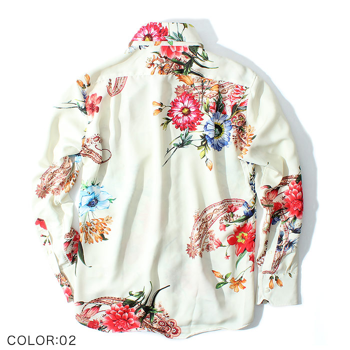 ペイズリーフラワードレスシャツ