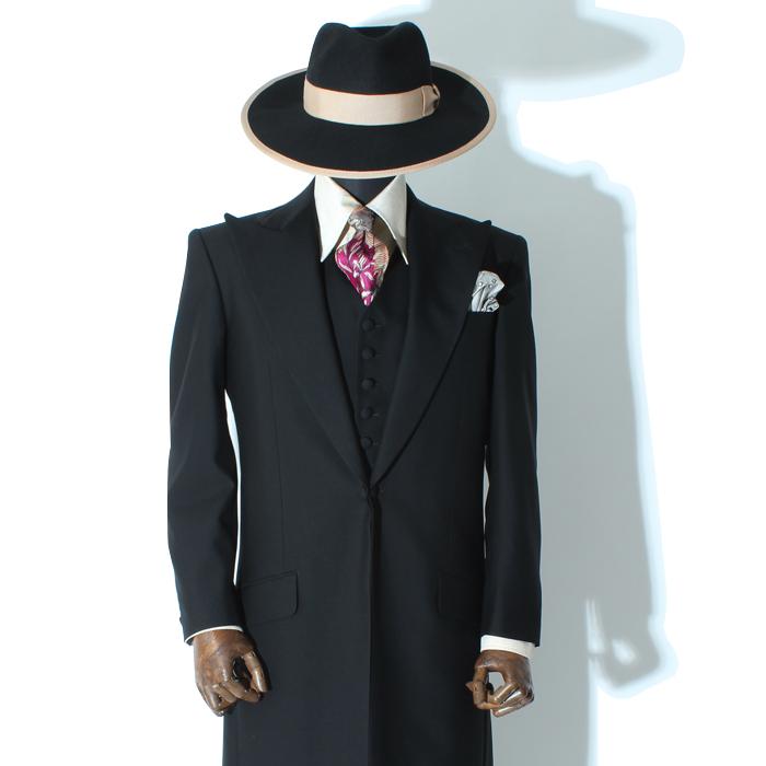 シングルロングズートスーツ ブラック ベスト付き