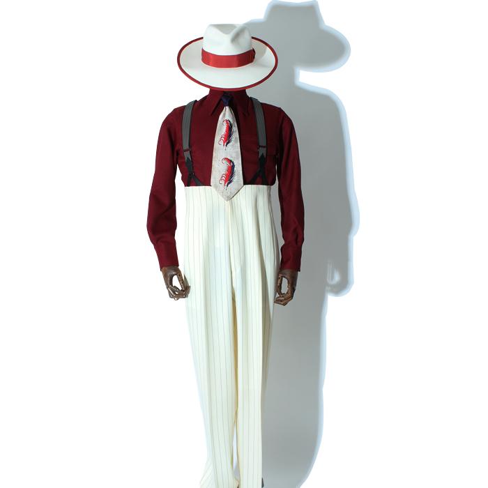 シングルロングズートスーツ ホワイトストライプ