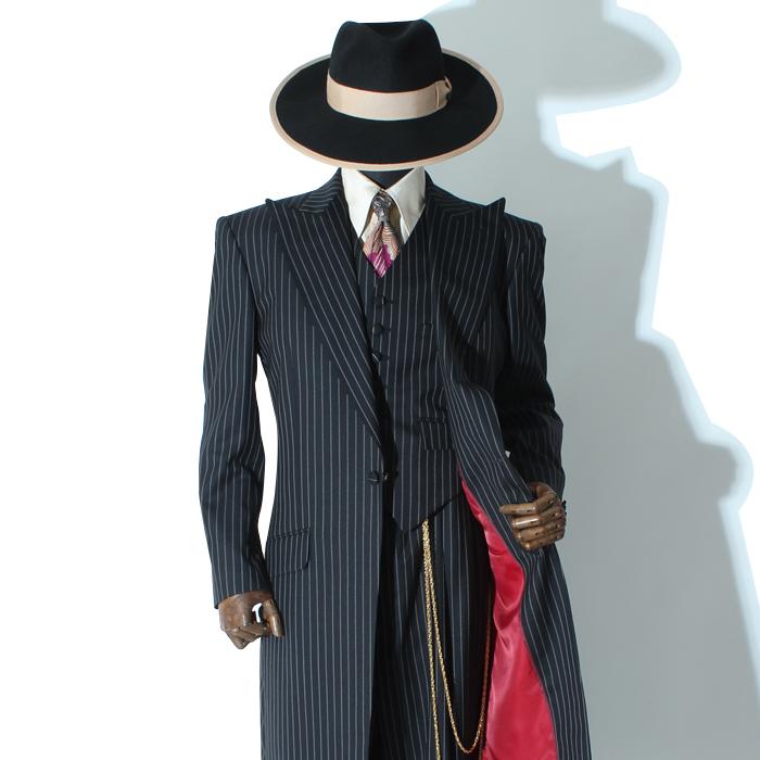 シングルロングズートスーツ ブラックストライプ ベスト付き