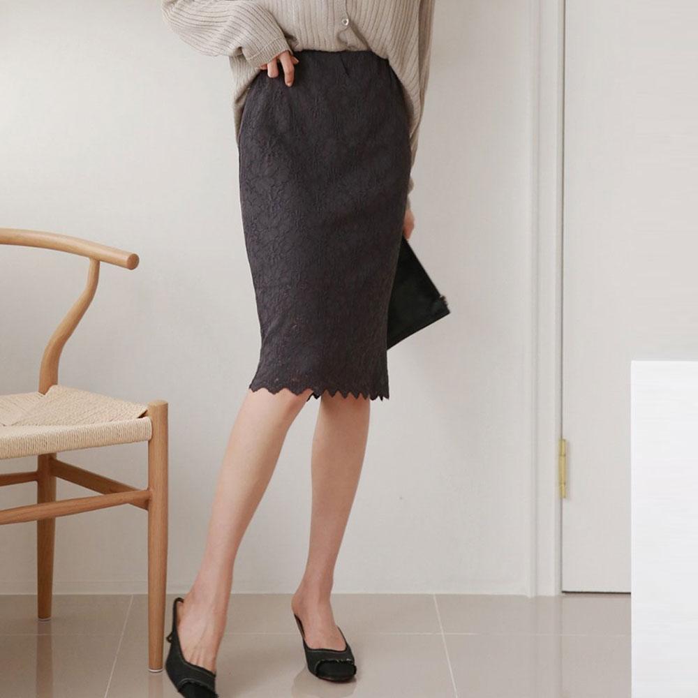 総レースミディアム丈スカート全5色