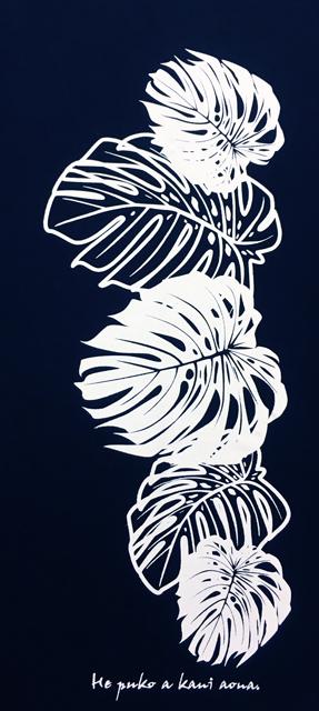 Kapaliliオリジナル<BR>ゆったりタイプ/ドルマン半袖Tシャツ<br>モンステラ/ブラック/KOT144