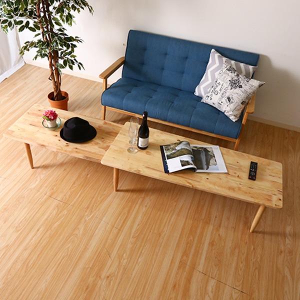 北欧風 センターテーブル/ローテーブル 【幅122cm】 ナチュラル 木製 『Natural Signature ツイン』