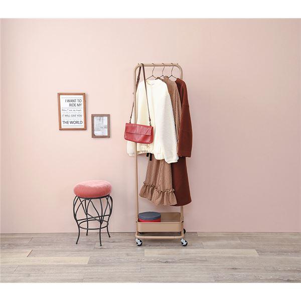 バスケット付き ハンガーラック/衣類収納 【キャラメルブラウン】 幅約42cm スチール製 キャスター フック付 高さ調節可 組立式