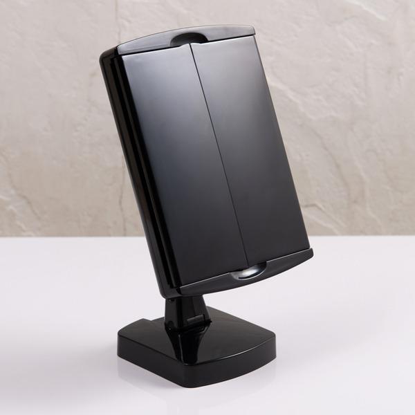 キレイミラー(ホワイト/白) LED/ライト付/2WAY/三面鏡/拡大鏡/卓上ミラー/手鏡/メイク/化粧/スタンド/女優ミラー/折りたたみ/回転式/光る/完成品/NK-2710