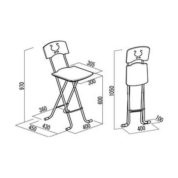 折りたたみ椅子 【1脚販売 ダークブラウン×ブラック】 日本製 スチールパイプ 幅40×奥行45×高さ97