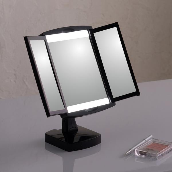 キレイミラー(ブラック/黒) LED/ライト付/三面鏡/2WAY/拡大鏡/卓上ミラー/手鏡/メイク/化粧/スタンド/女優ミラー/折りたたみ/回転式/光る/完成品/NK-2710