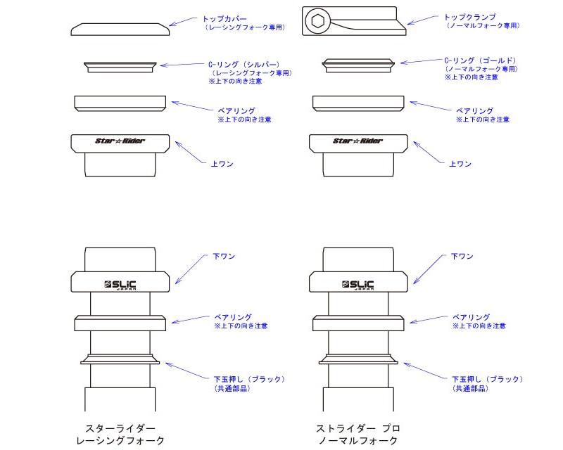 スリック製ベアリング内蔵ヘッドパーツ(スリック製専用フォーク用)_SLiC Head Parts Set(for SLiC fork)